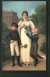 Künstler-AK Königin Luise von Preussen, Portrait mit Kindern