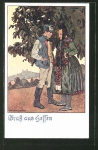 Künstler-AK Otto Ubbelohde: Hessisches Paar unterm Laubbaum