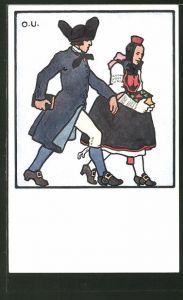 Künstler-AK Otto Ubbelohde: Hessisches Paar im Laufschritt