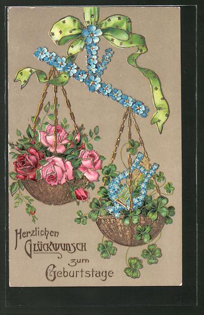 Präge-AK Rosen und Kleeblätter in einer Waage