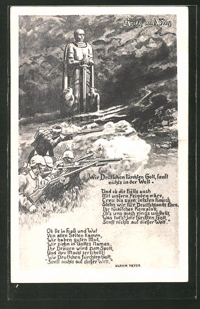 Künstler-AK Bismarckdenkmal und Soldaten im Gefecht