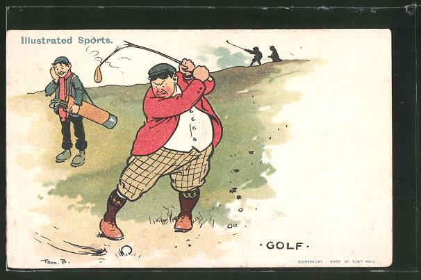 Künstler-AK Tom Browne: Wütender Golfspieler zerbricht seinen Golfschläger