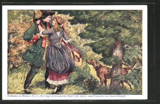 Künstler-AK Hans Baluschek: Volkslieder in Bildern, 11. Der Jäger in dem grünen Wald