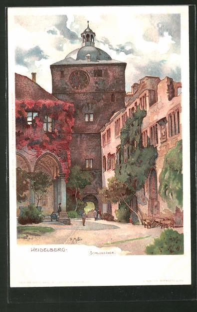 ak litho heidelberg schlossthor 1910 nr ak 00501. Black Bedroom Furniture Sets. Home Design Ideas