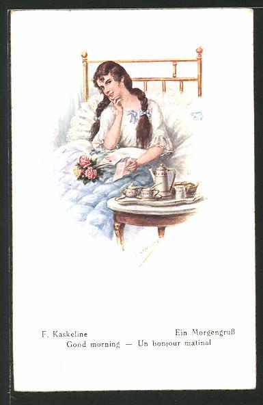 Künstler-AK Friedrich Kaskeline: Ein Morgengruss, Maid im Bett