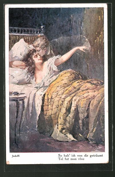 Künstler-AK Adolf (Jodolfi): Mann küsst seine Frau im Bett