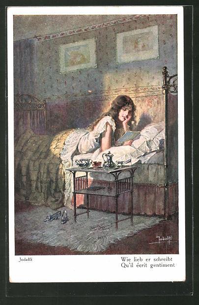 Künstler-AK Adolf (Jodolfi): Frau liest in ihrem Bett Liebesbriefe