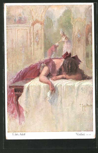 Künstler-AK Adolf (Jodolfi): Frau trauert und liegt auf einem Tisch