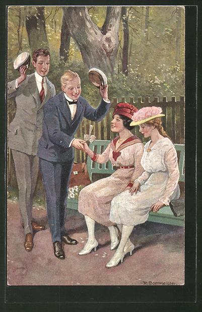 Künstler-AK R. Borrmeister: Zwei Männer begrüssen zwei Damen die auf einer Bank sitzen