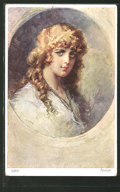 Künstler-AK Adolf (Jodolfi): Porträt einer schönen Dame