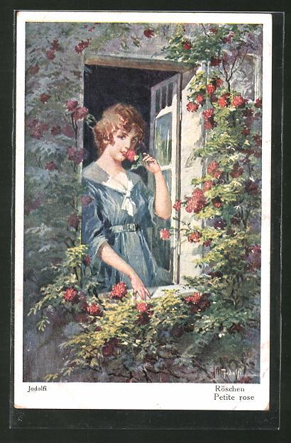 Künstler-AK Adolf (Jodolfi): Junge Dame riecht an einer Rose