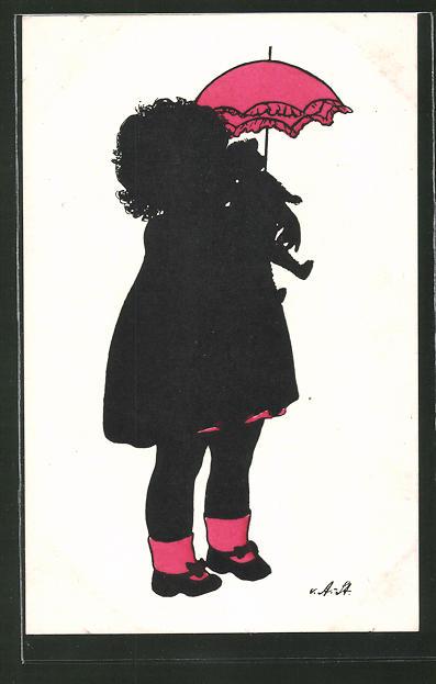 Künstler-AK Ov. Alt-Stutterheim: Mädchen mit Teddy und Schirm, Silhouette