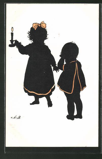Künstler-AK Ov. Alt-Stutterheim: Kinder mit Kerze, Silhouette