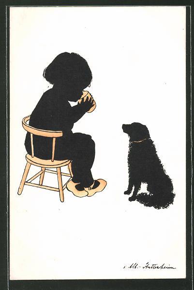Künstler-AK Ov. Alt-Stutterheim: Trinkendes Kind und Hund, Silhouette