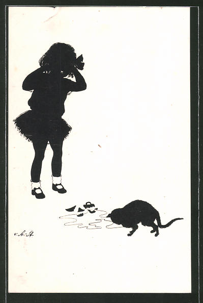 Künstler-AK Ov. Alt-Stutterheim: Katze und tollpatschiges Kind, Silhouette