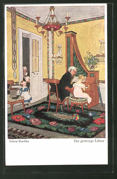 Künstler-AK Helmut Skarbina: Der gestrenge Lehrer, Hausmusik
