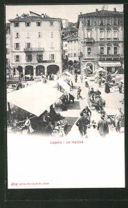 AK Lugano, Mercato, geschäftiges Treiben am Markttag