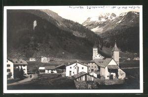 AK St. Gertraud in Sulden, Ortspartie mit Kirche