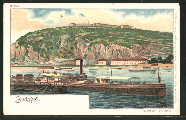 Lithographie Budapest, Blocksberg & Dampfer