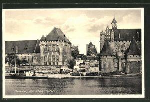 AK Marienburg / Malbork, Westseite des Schlosses