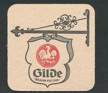 Bierdeckel Verden, Gilde Brauerei, Aushängeschild mit Brauerei Wappen