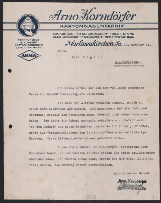 Briefkopf Markneukirchen 1934, Kartonnagenfabrik, Arno Korndörfer, Schachteln in verschiedenen Grössen