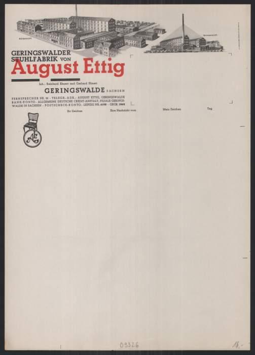 Briefkopf Geringswalde, Geringswalder Stuhlfabrik, August Ettig, Fabrik Nord & Süd-Ansicht, blanko