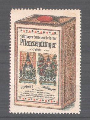 Reklamemarke Hallmayer's konzentrierter Pflanzendünger, Packung Pflanzendünger