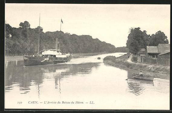 AK Caen, L'Arrivee du Bateau du Havre, Hafeneinfahrt mit Dampfer