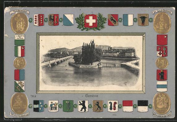 AK Geneve, Hafenpanorama, Telldenkmal, Winkelrieddenkmal und St.Jakob-Denkmal mit Flaggen