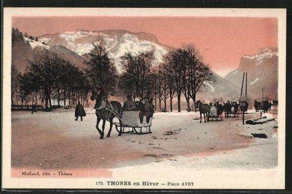 AK Thones en Hiver, Place Avet - Pferdeschlitten