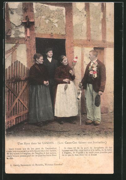 AK Aquitanien / Aquitaine, Landes, Familie in Trachten