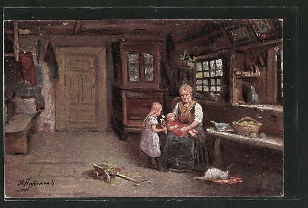 Künstler-AK Wohlgemuth & Lissner, Primus-Postkarte No. 3213, J. Heyermanns: Blümchen fürs Brüderchen