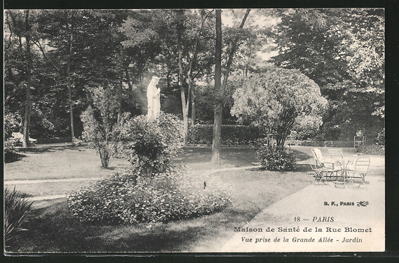 AK Paris, Maison de Santé de la Rue Blomet, le Jardin, Vue prise de la Grande Allée