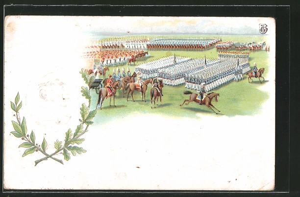 Präge-Lithographie Profilbild Kaiser Wilhelm II., Kaisermanöver, Aufmarsch der Truppen
