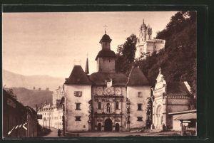 AK Bétharram, la facade principale de la chapelle avec un coin de la place