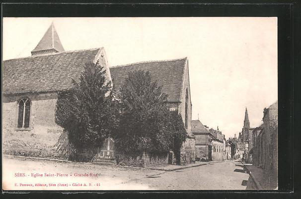 AK Sées, église St-Pierre et Grande-Rue