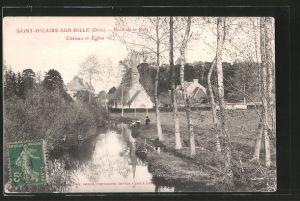 AK Saint-Hilaire-sur-Rille, bords de la Rille, château et église