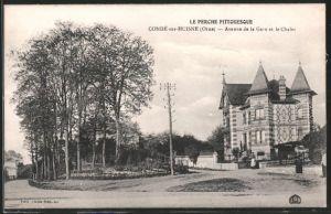 AK Condé-sur-Huisne, avenue de la Gare et le chalet