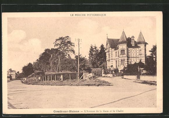 AK Condé-sur-Huisne, l'avenue de la Gare et le chalet