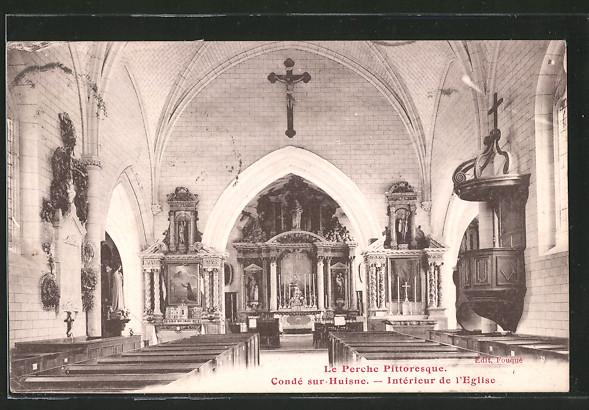 AK Condé sur-Huisne, intérieur de l'église
