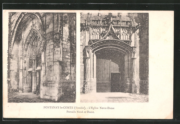 AK Fontenay-le-Comte, l'eglise Notre-Dame, portails nord et ouest