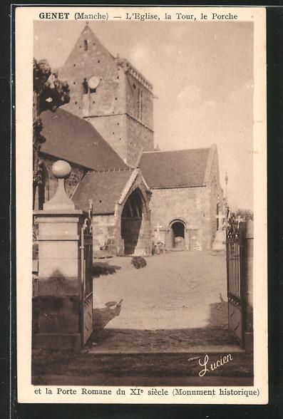 AK Genet, l'église, la tour, le porche et la porte romane du XIe siècle