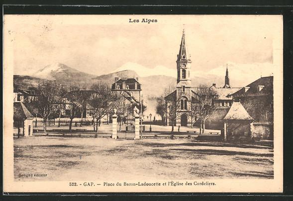 AK Gap, la place du Baron-Ladoucette et l'église des Cordeliers