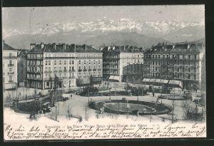 AK Grenoble, la place Victor Hugo et la chaine des Alpes