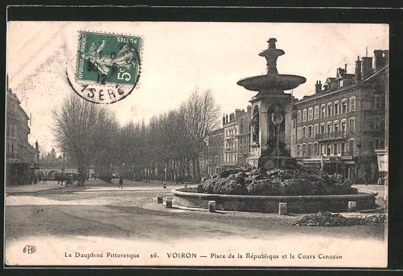 AK Voiron, place de la République et le cours Cenozan