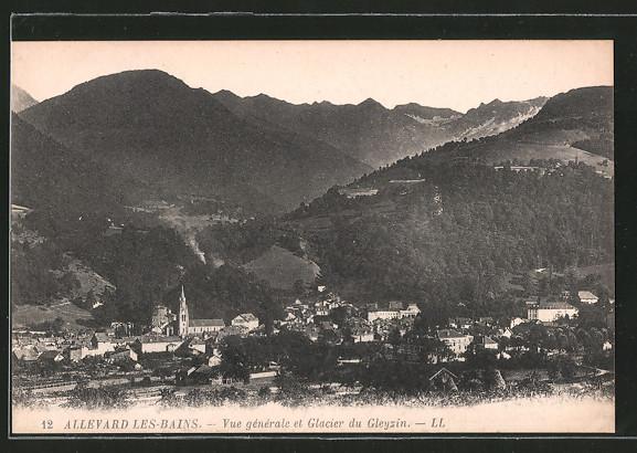 AK Allevard-les-Bains, vue générale et glacier du Gleyzin