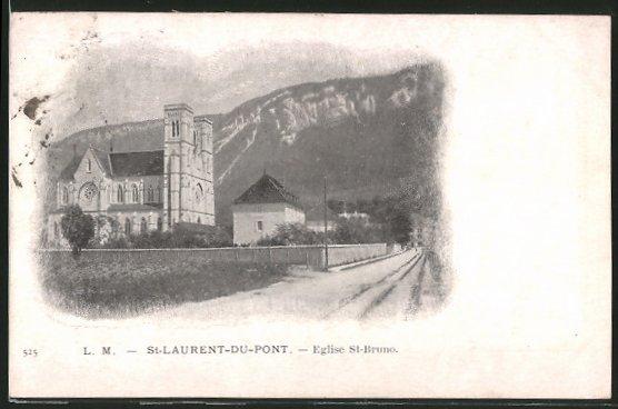 AK St-Laurent-du-Pont, l'église St-Bruno, vue de la rue