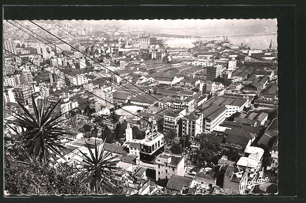 AK Alger, Le Téléférique au dessus du Quartier du Marabout, Seilbahn