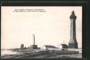 AK Saint-Pierre, La Pointe de Penmarch, Le Phare d'Eckmühl, l'Ancien Phare et le Sémaphore, Leuchtturm